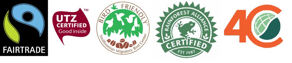 Sellos para café: Fair trade, Bird friendly, Rain forest, 4C