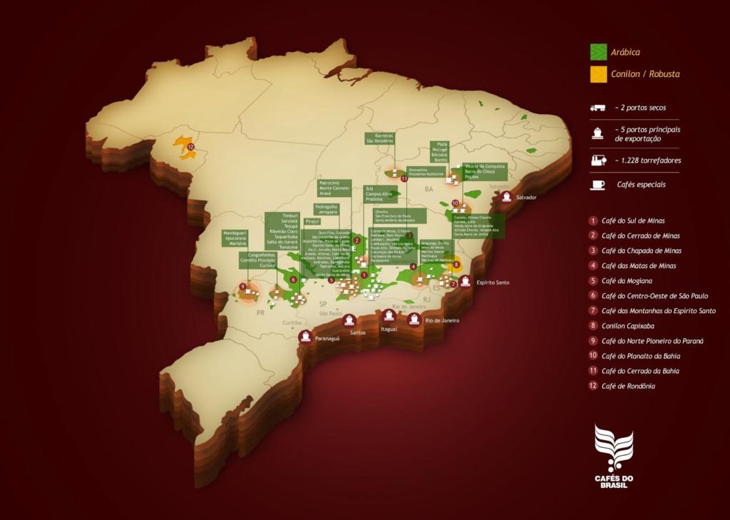 Mapa de Brasil indicando las principales regiones productoras de café.