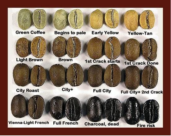 Grados de tueste de granos de café.