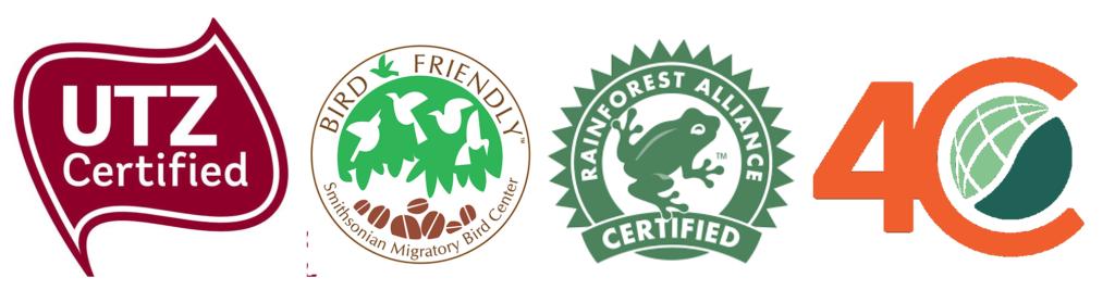 Sellos de sostenibilidad ambiental para café. UTZ, Bird friendly, Rain forest, 4C.