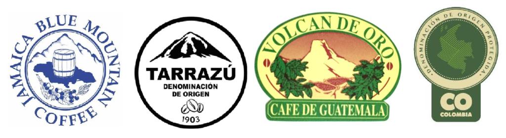 Sellos de café con denominación de origen protegido. Café Blue mountain, café Tarrazú, café Volcán de oro, café de Colombia