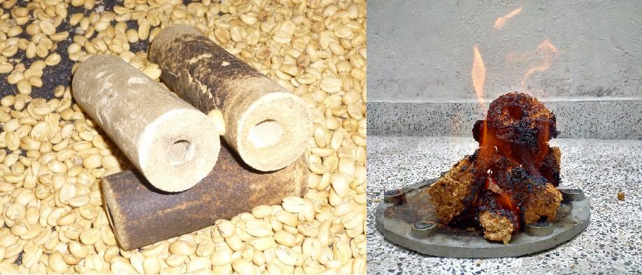Briquetas elaboradas con cascarilla de café.