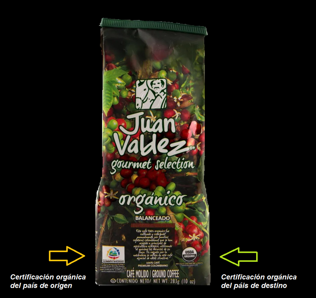 Foto del empaque de café Juan Valdez en donde se muestra el sello de café orgánico del país de origen y el sello de café orgánico que exige el país de destino, en este caso el sello USDA organic para el mercado de estados Unidos.