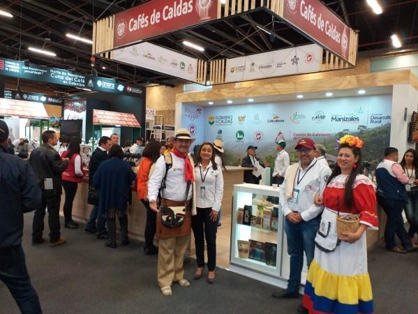 Foto que muestra el stand de cafés especiales del Departamento de Caldas en Expo café Colombia 2019