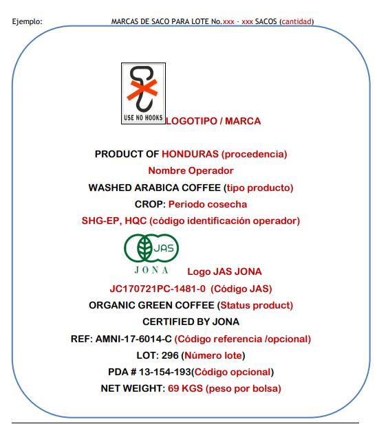 Diagrama que indica la forma correcta de estampara sacos de café que llevan el sello JAS.